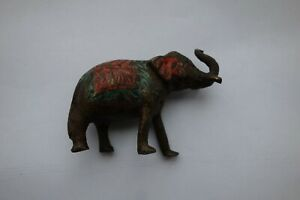 ANTIQUE COLD PAINTED BRONZE ELEPHANT 1.75 Inches tall