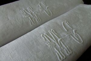 Antique-French-Pair-Damask-Napkins-Serviettes-Monogram-MC-c1900s
