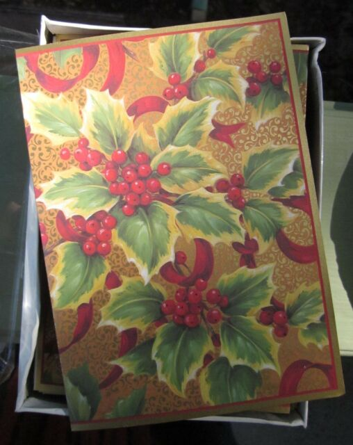 Caspari Christmas Cards.Caspari Christmas Card Lot 14 Cards Denmark Pamela Gladding Design Gilded Holly
