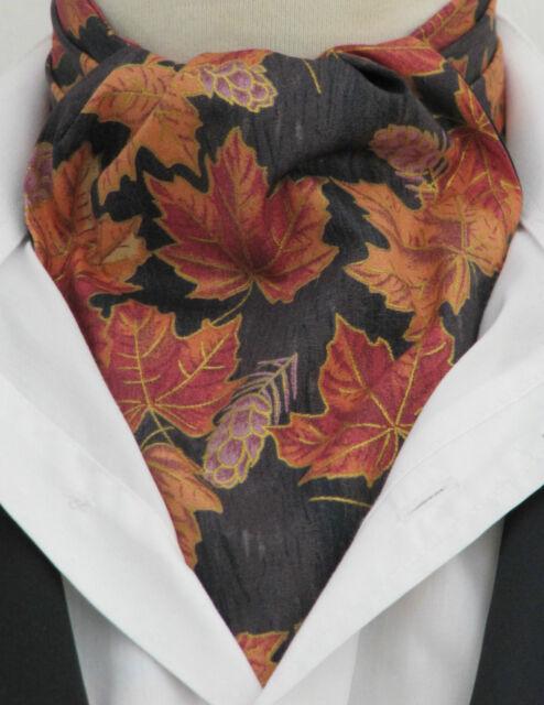 Mens Black Gold Orange Leaf Design Cotton Ascot Cravat & Pocket Square - UK Made