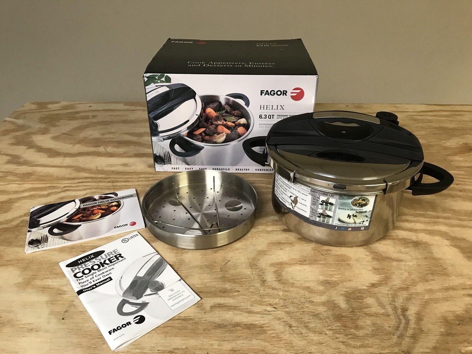 Fagor HELIX 6.3 QT Pressure Cooker w  Steamer Basket and Trivet Pre Owned