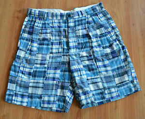 Jos.A.Bank Mens Patch Work Shorts BLUE CHECK - Sizes 34,35 & 38 - NEW
