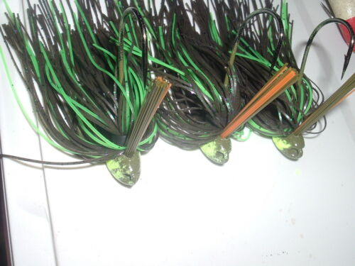 Yank Tackle Custom Weedless Brush Jig Lot Of 3 Florescent Green Craw 1//2 oz Flip