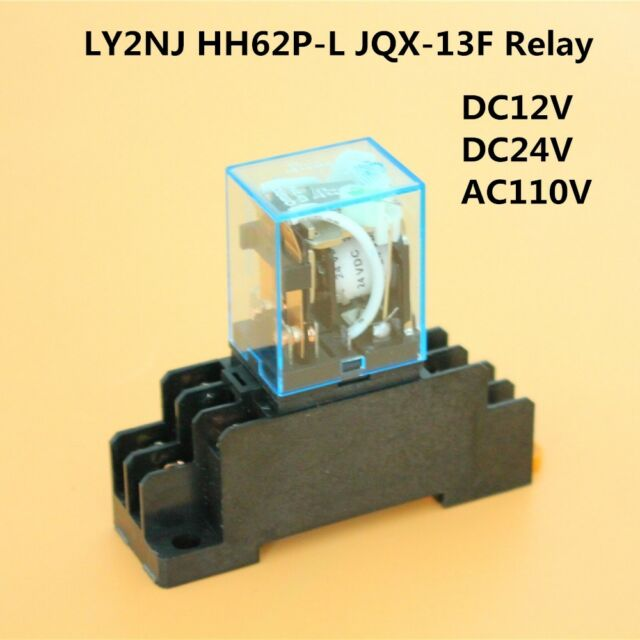 DC12V - AC110V Coil Power Relay DPDT LY2NJ HH62P-L JQX-13F W/ PTF08A on