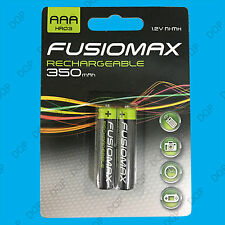 2x AAA Rechargeable Fusionmax NiMH Batteries, HR03, 1.2V, Ni-Mh, 350mAh