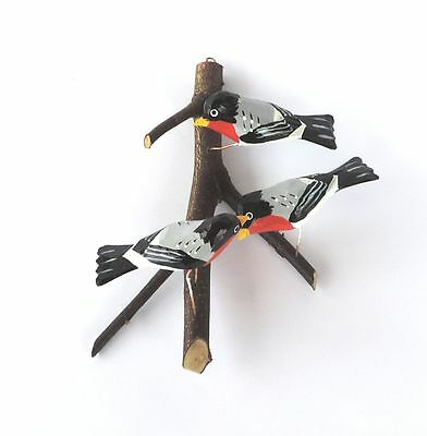THREE BULLFINCHES Traditional hand-carved and painted birds POLISH FOLK ART