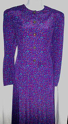 Vintage Leslie Fay Blouse and Skirt Set Petite Size 8P Purple Geometric Print Pl