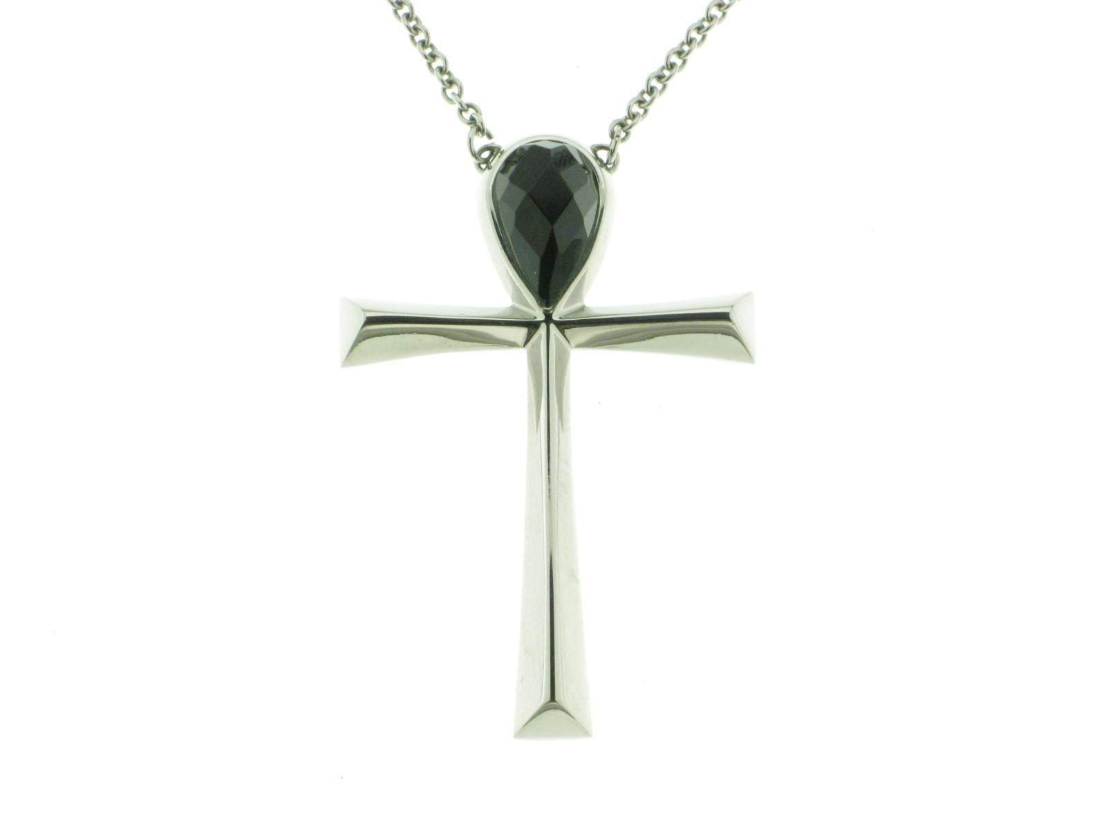 BROSWAY collana Luxor croce e catena acciaio cristallo verde verde verde scuro BLX03 new 5a3f90