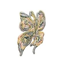 ID 2149C Beaded Butterfly Patch Fairy Garden Bug Embroidered Iron On Applique