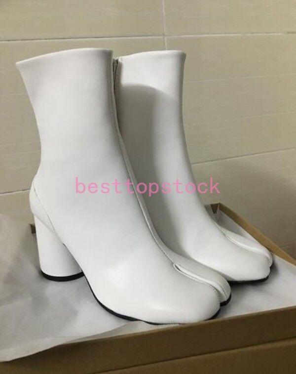 Para mujeres Cuero Vaca Negro Grueso talón Split Toe Caballero Combate botas Zapatos Talla Caliente