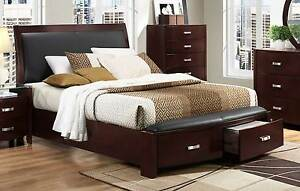 Black queen platform sleigh bed w footboard storage bedroom furniture