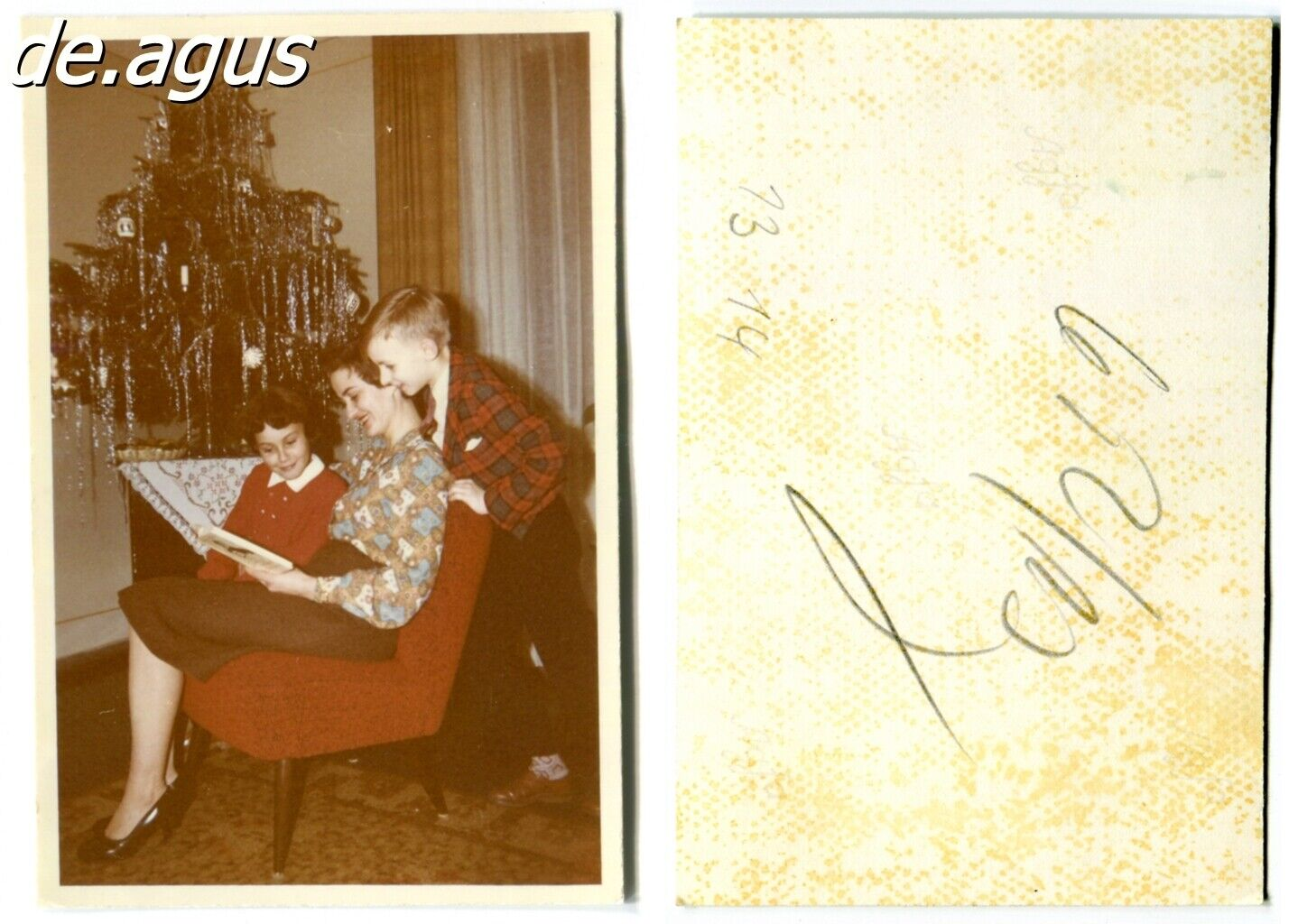 Vintage color Photo circa 1960s mother reading to her children,Christmas tree