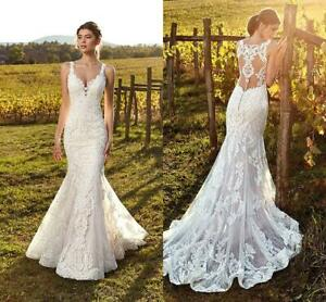 Ivory-Straps-Wedding-Dresses-Bridal-Gowns-Deep-V-Neck-Lace-Mermaid-Summer-Beach