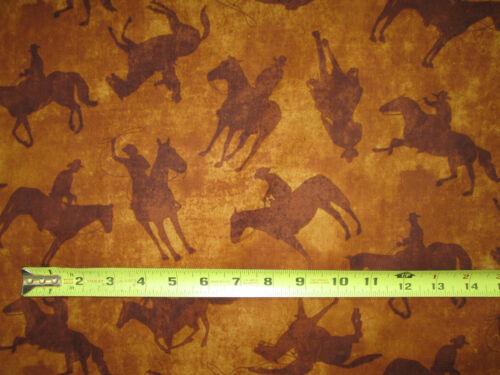 HORSES WESTERN COWBOY TAN BROWN COTTON FABRIC FQ