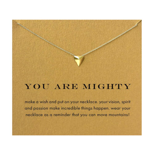 Gold plated Inspirational Message Card Pendant Necklace Jewellery UK SELLER