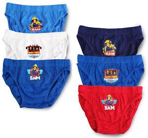 3 Pack - Boys 100/% Cotton Briefs Pants Underwear Fireman Sam