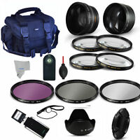 52mm Wide Angle Lens + Telephoto Zoom Lens + Pro Accessory Kit For Nikon D3100