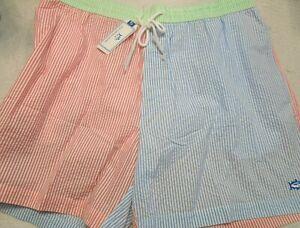 Southern-Tide-Cotton-Blend-Patchwork-Seersucker-Pattern-Swim-Trunks-NWT-XXL-85