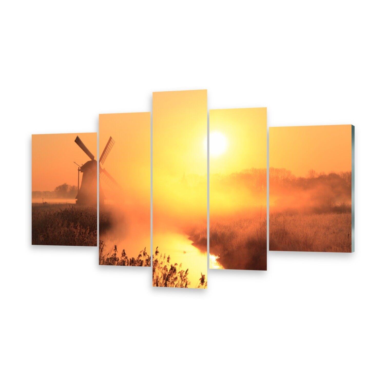 Mehrteilige Bilder Glasbilder Wandbild Sonne Windmühle