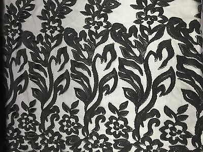 Black Big Leaf Floral Dress Outlined  Lace Fabric By The Yard
