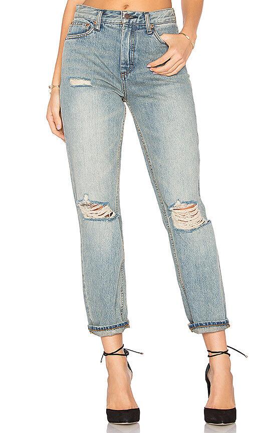 NWT FREE PEOPLE Women's Denim bluee Destroyed By Syxx Boyfriend Jeans 28 x 28