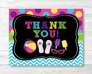 girls pool party chalkboard thank you card printable ebay
