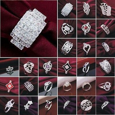 Women's Fashion Jewelry S925 Sterling Silver SP Ring US size 6 7 8 9 Wedding