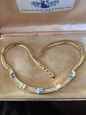 Stunning Christian Dior Vintage Necklace Choker Aquamarine Citrine Rhinestones