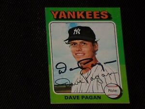 DAVE PAGAN 1975 TOPPS SIGNED AUTOGRAPHED CARD #648 NEW YORK YANKEES
