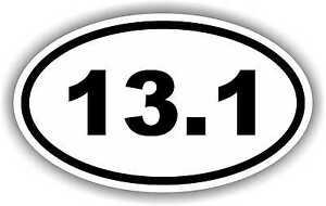 """13.1 Half-Marathon Runner  Oval car window bumper sticker decal 5/"""" x 3/"""""""