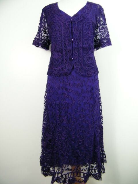 FAB PURPLE LACE LACY DRESS AND JACKET SUIT, BRAND NEW SIZE 12 14 16 18 20 22