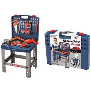 16-034-Children-039-s-Workbench-Toolbox-Play-Set-w-12-Tools-Portable-Stand-up-TF821