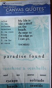 Details about NEW 12 pc TROPICAL PARADISE Beach Escape Sand CANVAS QUOTES  Twill Stickers