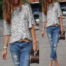 8437699986f item 1 Ladies Off-shoulder Glistening Sequin Slim Shirt Tops Blouses Tee  Womens T-shirt -Ladies Off-shoulder Glistening Sequin Slim Shirt Tops  Blouses Tee ...