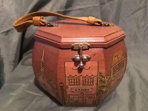 Details about Vintage Octagon Wood Box Purse Decoupage Town Stores Scene