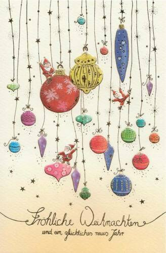 10 Weihnachtskarten Naturkarton Grußkarten Prägedruck Gold Kugeln 220-4746