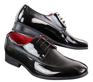 33adcd6bdae676 Chaussures homme simili cuir brillant verni avec lacets et effet ...