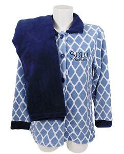 Pigiama-aperto-avanti-con-bottoni-Donna-in-Pile-Coral-Solo-Soprani-blu-F411m