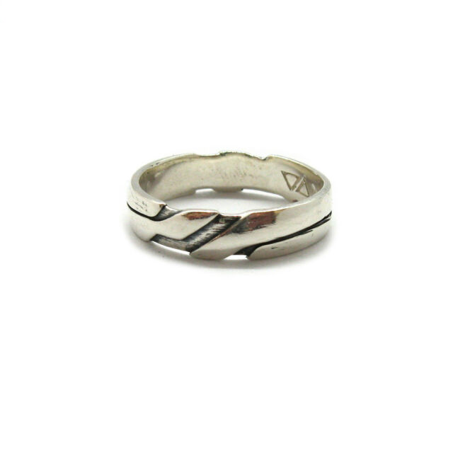 Genuine sterling silver ring solid hallmarked 925 wide band hearts R001795