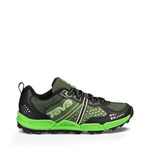 Teva Escapade Low Lea Athletic Trail Shoe (Little Kid/Big Kid), Black/Neon Green, 1.5 M US Little Kid