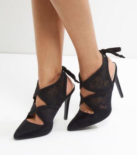 con New alto lacci Look Sandali alto tacco in e 4 7 camoscio 6 scamosciata Size nero in 5 tacco Bn pelle ggdxwaO7