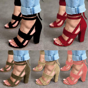 94eacf1adf5 Summer Womens Lace Up Open Peep Toe High Block Heel Sandals Ankle ...