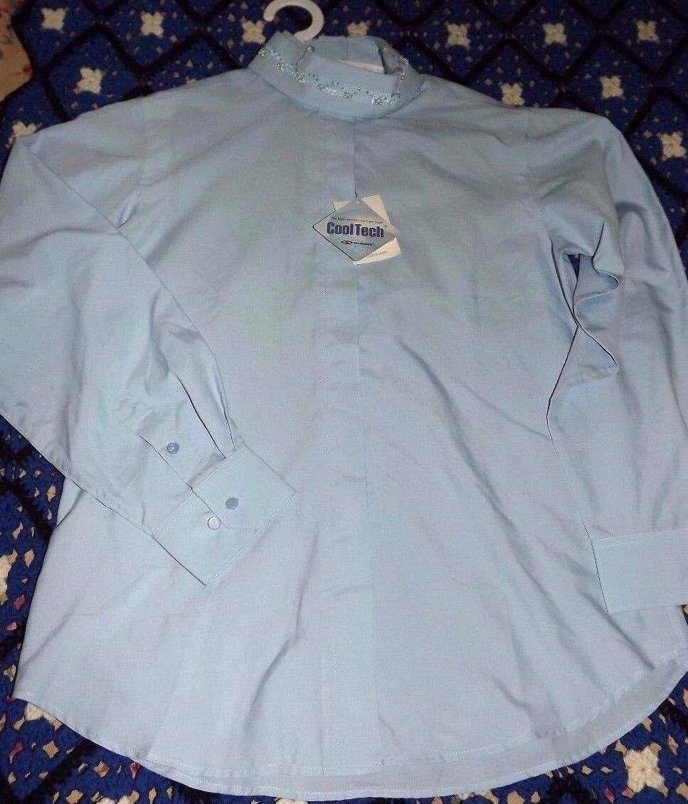 Nwts Ladies Wellington Collection by Charles Owens Riding Shirt Size 38 bluee