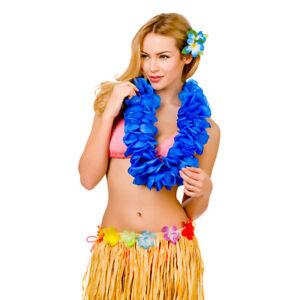 Accessoires FleißIg Hula-mädchen Hawaiianisch Blau Groß 11.5cm Blütenblatt Lei Damen Kostüm Zubehör