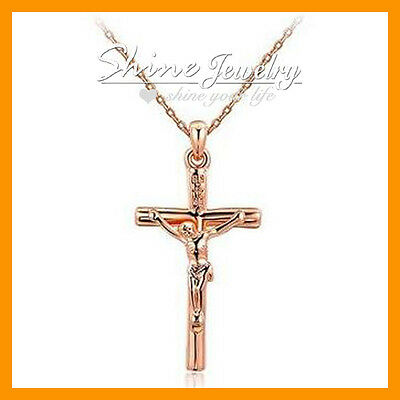 Mother's Day 18K GOLD Over CRUCIFIX CROSS LADY Women/'s Men/'s SOLID NECKLACE