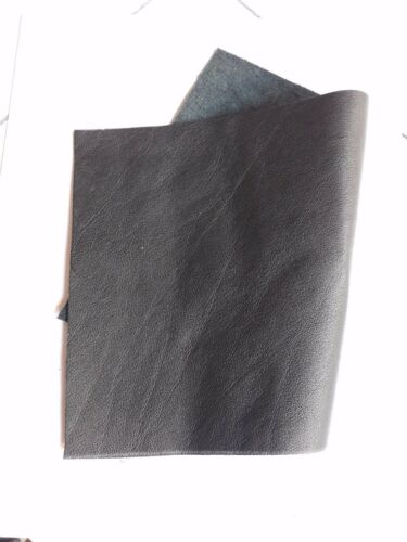 "Cowhide Genuine Black Leather Cut Piece 18/"" X 24/"" Made in USA 45cm x 61cm"