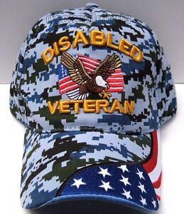 56e8d3d3bfa DISABLED VETERAN Cap Hat w Eagle   Flag Blue Camo 100% Cotton Free ...