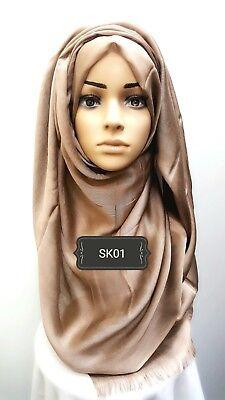 Hijab head scarf maxi shawl chiffon jersey lycra crimp cotton visocse silk SK09