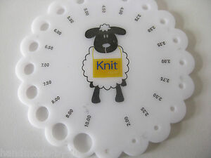 Knitting Needle Size Gauge : Sheep knitting needle size gauge round sizer sizing metric mm