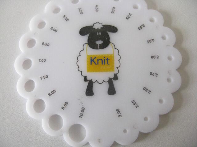 sheep knitting needle size gauge round sizer sizing Metric 2 -10mm